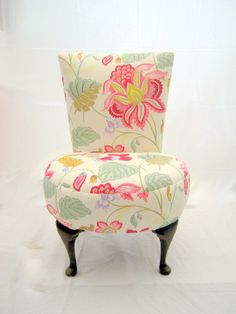 Love this material  Beautiful vintage boudoir chair fully by TheHappyChairCompany, £180.00