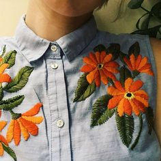 upcycled sleeveless button-down on etsy #embroidery