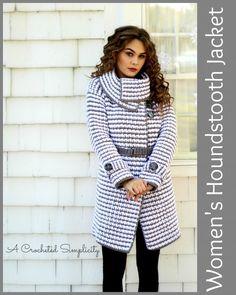 Crochet Pattern: Women's Houndstooth Jacket