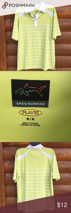 MENS Greg Norman golf shirt Chartreuse and white striped play dry shirt. Greg Norman Shirts Polos
