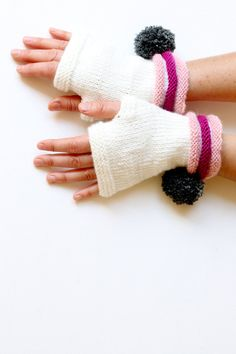 Hand Knit Fingerless Gloves. Fashion 2012. Girls by gloveshop, $34.90
