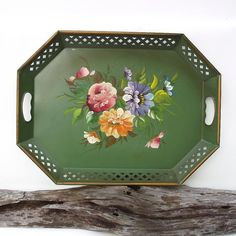 Vintage Metal Serving Tray, Toleware, Hand painted Tole Tray, 1940s Kitchen Decor, Shabby Chic / Cottage Decor