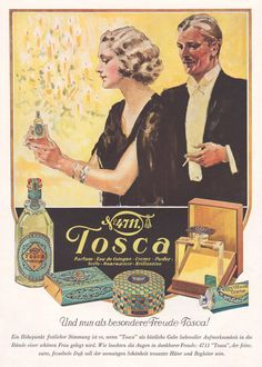 1935 Art Deco Ad Print No 4711 Tosca Eau de Cologne Perfume Cream Powder Soap Vintage Makeup, Vintage Beauty, Vintage Labels, Vintage Ads, Art Deco Posters, Poster Prints, Retro Poster, Poster Vintage, Elegant Couple