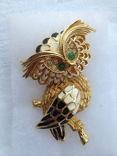 Vintage Florenza Owl Brooch