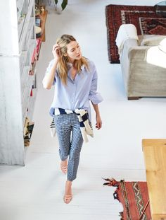 J.Crew Looks We Love: women's Thomas Mason® for J.Crew collarless shirt, Martie pant in windowpane, Italian cashmere mixed-stripe crewneck sweater and ankle-strap sandals.