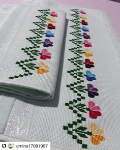 Cross Stitch Bookmarks, Cross Stitch Borders, Cross Stitch Flowers, Cross Stitch Designs, Cross Stitching, Cross Stitch Patterns, Creative Embroidery, Diy Embroidery, Cross Stitch Embroidery