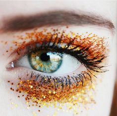 yellow and orange glitter can make gorgeous eyes pop (but be careful not to get it in your eye!!!<3)
