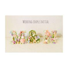, Wedding display! 沖縄で結婚式を挙げる方の 結婚式に飾ってもらう 2人のイニシャル カワイイ色合いです\(//∇//)\ 気に入ってもらえてよかったぁ♡ ブーケやブートニア、花冠もまたあとで載せます! たくさんご注文ありがとうございます(=´∀`) , #notarina#Wedding#initial#ウエディング#イニシャルモチーフ#沖縄#結婚式