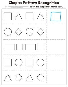 Shapes Worksheets for Kindergarten Pdf Shapes Pattern Recognition for Kindergarten Itsy Bitsy Fun Pattern Worksheets For Kindergarten, Patterning Kindergarten, Shapes Worksheets, Kindergarten Math Worksheets, Preschool Learning Activities, Worksheets For Kids, Preschool Shapes, Printable Worksheets, Kids Shapes