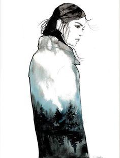 Dark & Stormy original mixed media fashion illustration
