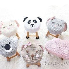 Crochet and Knitting Cute Crochet, Crochet For Kids, Crochet Dolls, Knit Crochet, Crochet Hats, Stool Covers, Crochet Home Decor, Baby Decor, Baby Knitting