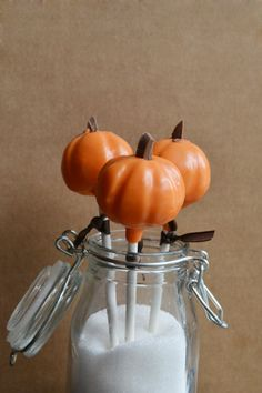 Pumpkin Cake Pops. I love the earthy tones & the overall simplicity of this presentation... so cute!
