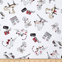 Timeless Treasures Francophile Paris Cat Cloud from @fabricdotcom  Designed for Timeless Treasures, this cotton print fabric is perfect for quilting, apparel, and home decor accents. Colors include black, pink, tan, cream, grey, and white.