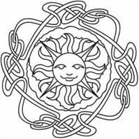 litha. Print this out for kids to paint or color with markers/crayons/pencils at a solstice party then have the kids pin it to a tree for decoration! :)
