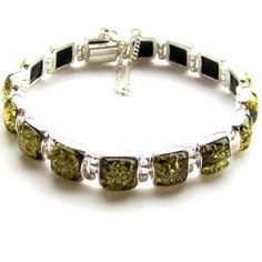 "Green Amber and Sterling Silver Modern Link Bracelet 7"" Amazon Curated Collection. $104.00. Made in Poland. Save 38%!"