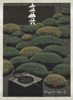 ✽ 'garden, sanzen-in, kyoto' - 1964 - kiyoshi saito - 1907-1997 - color woodcut