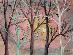 Sunlight 12x16 inch ORIGINAL CANVAS PAINTING Folk Art Trees Birds KARLA GERARD #FolkArtAbstractPrimitive