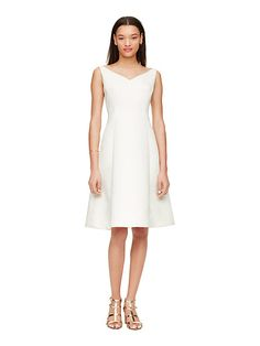 classic fit and flare dress, cream