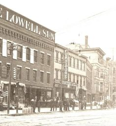 The original Lowell Sun building (cir. at 8 Merrimack Street. Also shown are 'Putnam Dining Rooms' restaurant, operated by Frank E. Putnam at 10 Merrimack and Albert E. O'Hare's Furniture Company at 16 Merrimack. It was replaced by the current building in Massachusetts, Furniture Companies, Furniture Styles, Street View, The Originals, Dining Rooms, Building, Restaurant, Sun