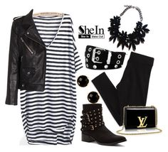 """""""sheinside stripped dress"""" by starspy ❤ liked on Polyvore"""