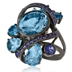 Ocean Blue Topaz™ in Blackened Silver Ring from Le Vian Silver®.