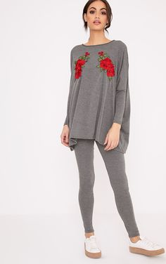 Grey Floral Embroidery Top & Leggings SetWork effortlessly cool off duty vibes, with this top & l...