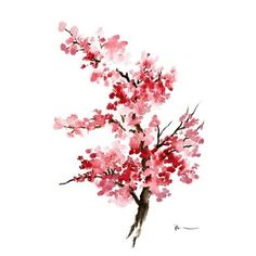 Cherry Blossom Flower Watercolor Painting, Pink Gifts For Her, Sakura... ❤ liked on Polyvore featuring home, home decor, wall art, water color painting, water colour painting, pink flamingo wall art, girls wall art and sakura painting