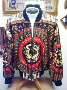 90s Versace Hermes Style Satin Bomber Jacket  by PuraVidaVintage, $40.00
