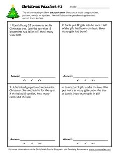 Christmas Math Puzzler worksheet for daily problem solving or cooperative learning