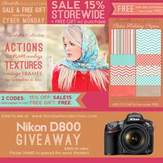 Nikon D800 Camera Giveaway and SALE + Free Gift from Florabella Collection (actions, textures & more)...