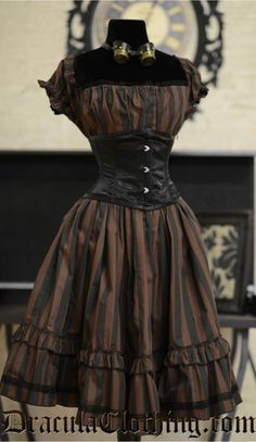 Steampunk black and brown striped dress with black waist cincher. Cute and simple dress that conveys so much style.