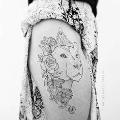 40 Beautiful Ornamental Tattoo Designs by Clari Benatti Lioness Tattoo and Flowers by Clari B. Leo Tattoos, Time Tattoos, Couple Tattoos, Unique Tattoos, Beautiful Tattoos, Small Tattoos, Tattoo Designs For Women, Tattoos For Women, Lion And Lioness Tattoo