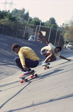 Chuck Askerneese & Marty Grimes 1976. Chuck was the first African American skater to be featured on the cover of Skateboarder magazine.