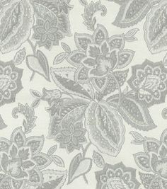 Upholstery Fabric- Waverly Treasure Trove Sterling;   curtains, soft and billowy. use the grey middle tone for the walls.