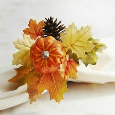 Pier One Fall Autumn Thanksgiving Napkin Rings Gold w//Orange Red Wine Beads NEW