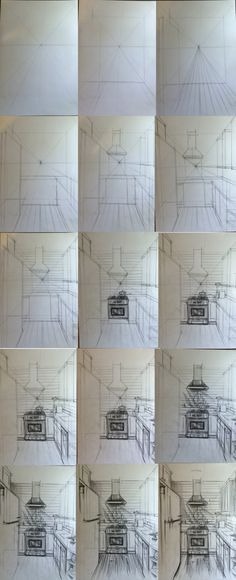 kitchen,drawing,stage,interior,15 step  for kitchen