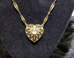 Signed 1928 Gold Filagree and Rhinestone Necklace - Vintage 1928 Gold Filagree Rhinestone Necklace - Costume Jewelry - Fashion Jewelry - Edit Listing - Etsy