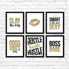 Does your office decor need a makeover? Need some modern motivation while sitting at your desk? We gotcha covered! Instantly create a professional gallery wall to freshen up your work space with our modern inspirational gold glitter office collection! Perfect inspiration for female entrepreuers and
