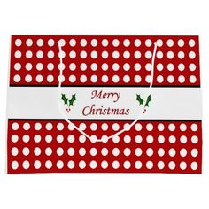 Merry Christmas with a Polka Dot pattern Large Gift Bag