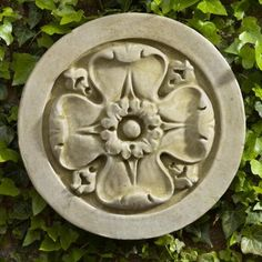 Campania International Rosette Cast Stone Outdoor Wall Art Plaque color1 Aged Li traditional outdoor decor