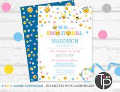 EMOJI Invitation, INSTANT DOWNLOAD Emoji Invitation, Emoji Party, Emoji Party Invitation, Emoji Printable, Edit yourself with Adobe Reader by TweetPartyPrintables on Etsy https://www.etsy.com/listing/278943614/emoji-invitation-instant-download-emoji