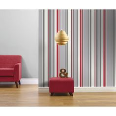 Wilko Apollo Red/Grey Wallpaper (€7,62) ❤ liked on Polyvore featuring home, home decor, wallpaper, red home accessories, red stripe wallpaper, striped wallpaper, red wallpaper and gray striped wallpaper