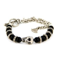 Mens Silver Skull with Black Agate Beads and Chain Bracelet from ettika