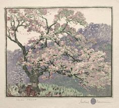 © Ann Baumann Trust, used with permission. Apple Blossoms, Cleveland Museum Of Art, Spring Blossom, Printmaking, Vintage World Maps, Artist, Painting, American, Design