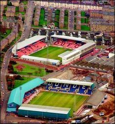 Dundee FC v Dundee United FC. The closest stadiums in Europe.