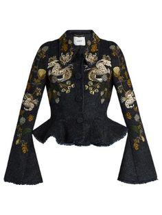 cd115e1530b18 Esha floral-embroidered plaid peplum jacket   Erdem   MATCHESFASHION.COM US  Plaid Jacket
