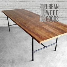 Wood Dining Room Table with reclaimed wood top and iron pipe legs in choice of sizes, base style or finishes Reclaimed Wood Dining Table, Reclaimed Wood Furniture, Recycled Furniture, Bar Furniture, Diy Wood Table, Wood Desk, Antique Furniture, Modern Furniture, Wood Wood