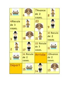 One board game related to Thanksgiving - l'Action de grceLaminate the game, give… French Teacher, Teaching French, Teaching Materials, Teaching Resources, Teaching Ideas, French Education, French Classroom, French Resources, Thanksgiving