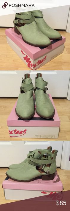 Jeffrey Campbell Everly Mint green leather bootie. Never worn. Box and dust bag included. Jeffrey Campbell Shoes Ankle Boots & Booties
