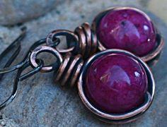 Copper Earrings Purple Earrings Antiqued Copper Jewelry  #wirework